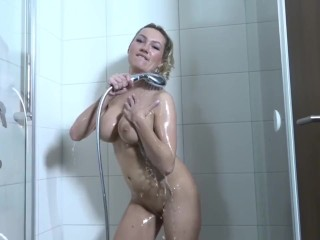 Blonde slut rides cock and squirts on it