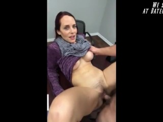 Horny furry busty MILF fucked at the desk