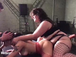 Estella Bathory AMATEUR THREESOME lesbian spit anal strapon FEET fetish ROUGH SEX pussy licking