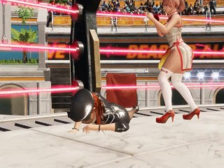 Honoka bearhug Police Woman Kasumi and unfold her legs (DoA 6 ryona / overkill)