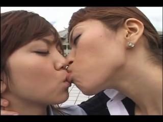 Lesbians having kissing a laugh