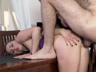 Lesbian Amirah Sucks Teenager Lydia Lust's Small Knockers Whilst Being Ass Fucked