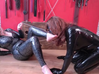 Emotional Strapon Night time, latex Mistress and her rubber doll toy, BDSM Fetish with Azeria Asgerd