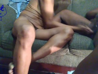 Black African American Lesbians Rubbing on Furry Pussy