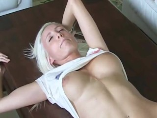 surprising scorching german blond newbie selfmade creampie