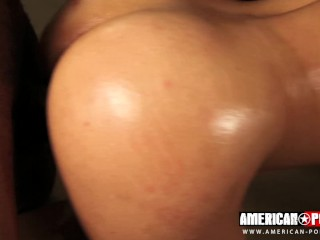 EBONY AMATEUR Almond Banks has her fingers and holes complete with two massive Dicks