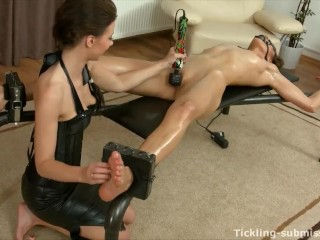 Tied gagged oiled thin Lady tickled loopy