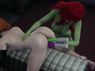 Black Widow and Poison Ivy fuck the usage of toys.