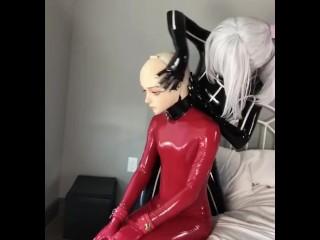 Locked in kigurumi masks and latex catsuit