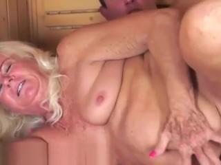 Cocksucking granny doggystyled at a sauna