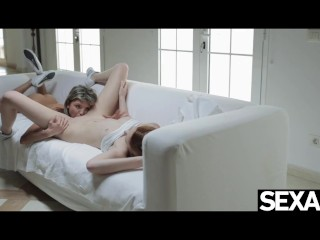 Beautiful redhead and lovely horny blonde consume each and every different's rainy pussy