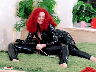 Lesbian PVC Fetish Comfortable Play with Tickling and Sure FemDom Masturbation