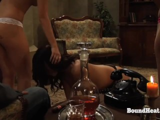 Lesbian Mistress With Large Titties Masturbates In Entrance Submissive Slave
