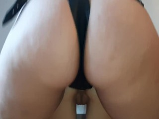 Fucking her little tight ass with a large black strapon – lesbian_illusion