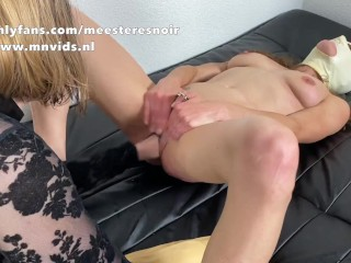 Slave woman will get a fist up her pussy