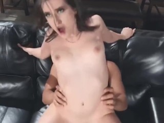 black dude displays his monster cock to sexy aubree valentine