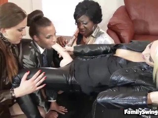 Lena Love Asserts Femdom Over Cfnm Pals With A Nasty Jizz