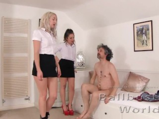 ballbusted by means of attractive spanish cleaners