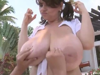 MiLena VeLba & Dominican Poison aka Mizz issy – oiled up large titty bouncing a laugh by means of the pooL