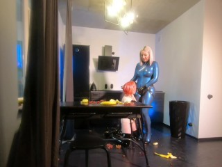 Romantic sexual bdsm morning of two lesbian ladies in latex rubber