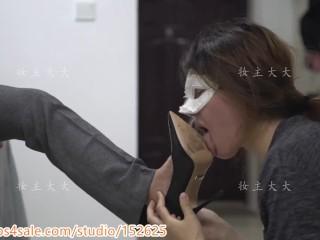 Chinese language mistress brutal Lezdom foot slave domination Torture妆主踢打耳光调教脚奴女M舔高跟