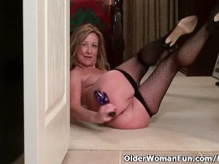 American milf Sally Metal will get naughty in fishnets