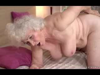 Granny 84y and Lady 21y lesbian  Lick Ass