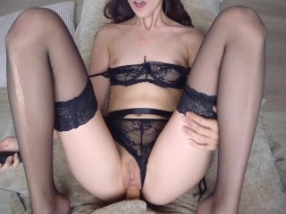 POV PETITE LESBIAN FUCKS IN SEXY LINGERIE + PUSSY PLAY