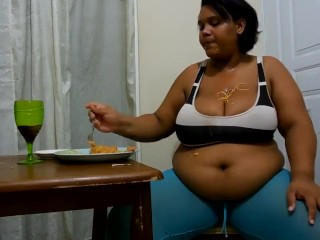 South American Busty lady stuffing her abdominal