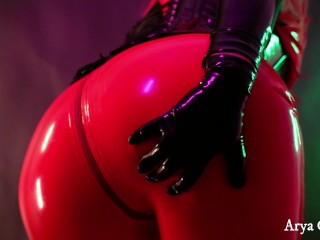 Rubber pink catsuit. Fetish latex clothes 4k video clips