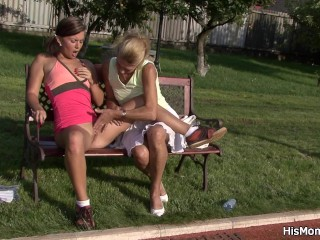 Outdated mom toying her younger pussy open air