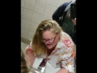 American anal dogging in public rest room by way of with swallow