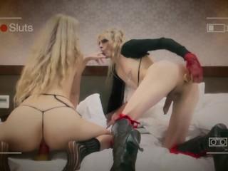 Watch two sexy sluts soar on cocks in a resort room.