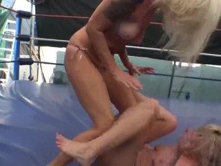 Horny blonde wrestler with a really perfect ass dominates and humiliates blonde rival and sits on her face