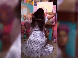 SENSUAL polka dot LONG HAIR FETISH BACK FANTASY PASSIONATE GIRL SOLO