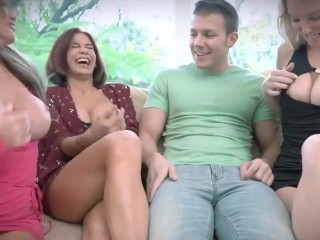 blowjob badmilfs – attractive milf stocks large cock with buddies caught