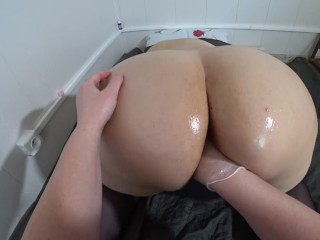 Deep fisting in bushy pussy. Lesbian with fats ass doggystyle POV