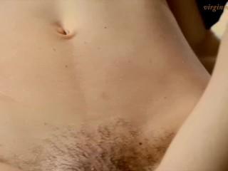Adorable petite furry pussy virgin Vika massaged