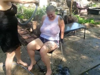BDSM Slave Punished Through Castratta, Her Head is Shaved and She Will get the Hose