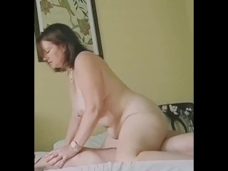 Overweight Mother Cowgirl Using and cumming