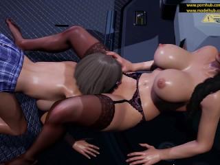Девочки развлекаются в мастерской космопорта. [4K,60FPS,3D Hentai,Uncensored,Fallen Doll]