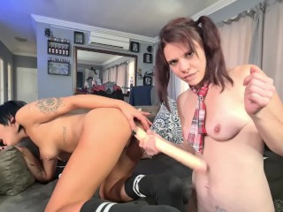 Roleplay | sexy dressed college women having a intimate lesbian make out consultation | pussy consuming