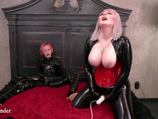 sizzling latex rubber couple, lesbian women have intercourse excitement in catsuits with hitachi, femdom