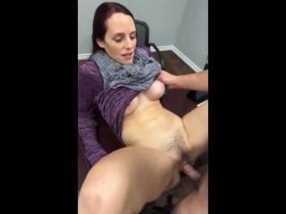 Horny bushy pussy MILF fucked on desk