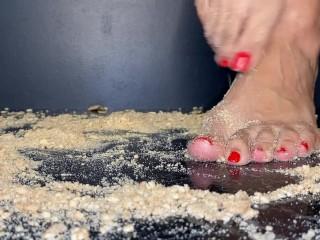 Toes crushing meals barefoot ASMR
