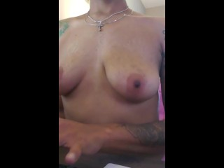 Enjoying with my PERKY CHOCOLATE NIPPLES whilst running within the place of job! Cum SUCK them four me please💋
