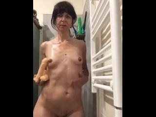 Milf mature pov Spanish spouse wih dildo enjoying masturbating on bathe Kiss