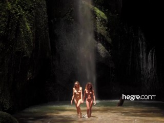 clover and putri in bali by means of waterfall