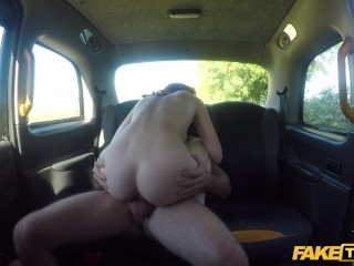 Pretend Taxi American cunning redhead fucked in UK taxi