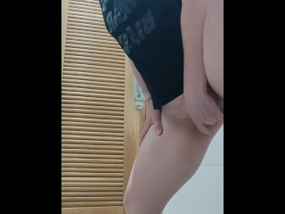 Masturbating on a chum in a public bathroom, peeking at her throughout the door